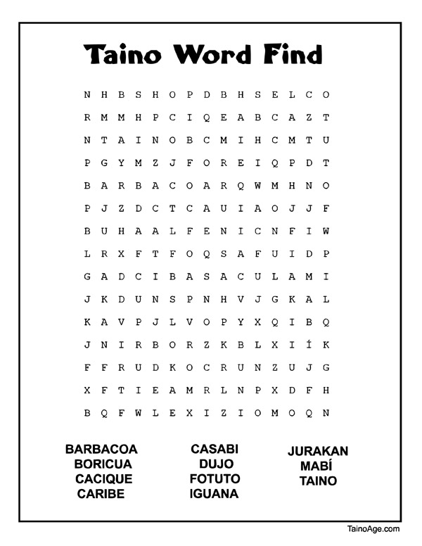 Free Taino Word Find